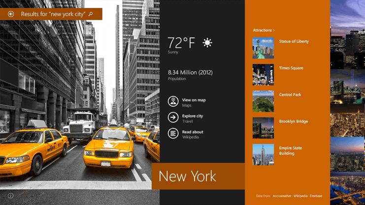 在 Windows 8.1 Preview 中搜索结果